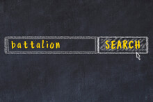 Chalk Sketch Of Browser Window With Search Form And Inscription Battalion