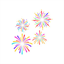 Fire Work Icon Vector Illustration Design Logo Template On Background. Color Editable