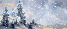 Christmas Time. Watercolor Greeting Card