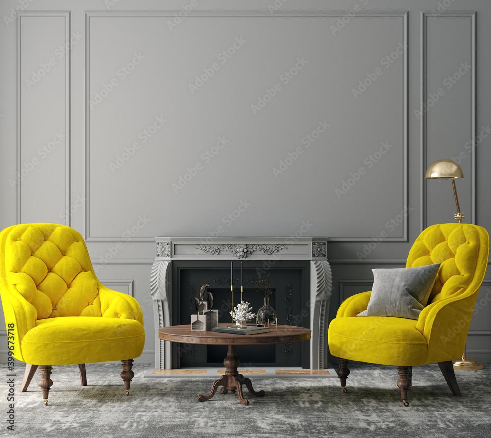Fototapeta Elegant dark grey interior with bright yellow armchairs, colors of the year 2021, 3d render