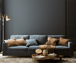 Modern home interior mock-up with dark blue sofa, table and decor in living room, 3d render