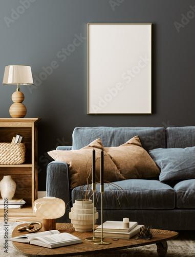 Poster mockup in modern dark interior background, 3d render