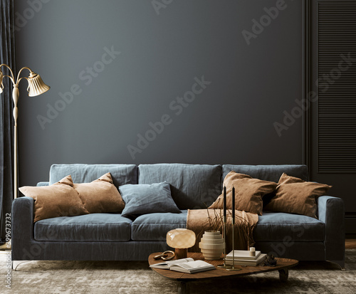 Obraz Modern home interior mock-up with dark blue sofa, table and decor in living room, 3d render - fototapety do salonu