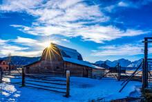 Sun Burst Over Barn, Snow, Clouds, Star