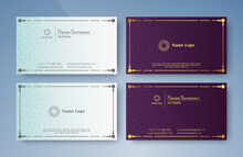 Classic Style Business Card In Purple And White Color