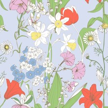 The Background With Spring Flowers Is Seamless. Delicate Floral Wind Pattern For Fabric.