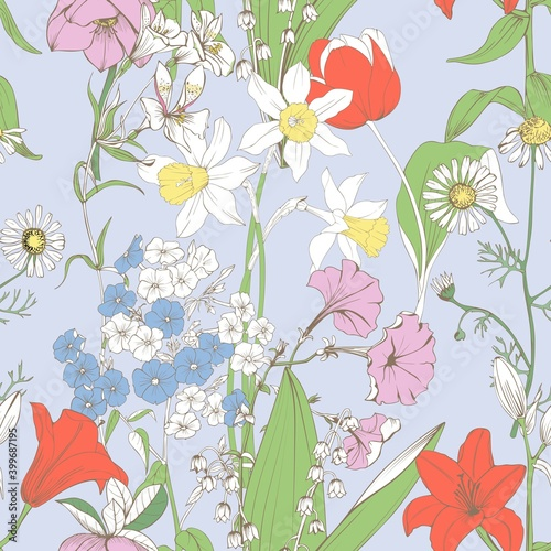 The background with spring flowers is seamless Wallpaper Mural