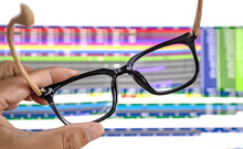 Glasses On Computer Screen, Glasses For Eyesight And Work Hard Concept