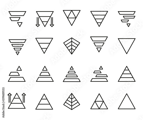 Fotografie, Obraz Vector line icons collection of pyramid chart.