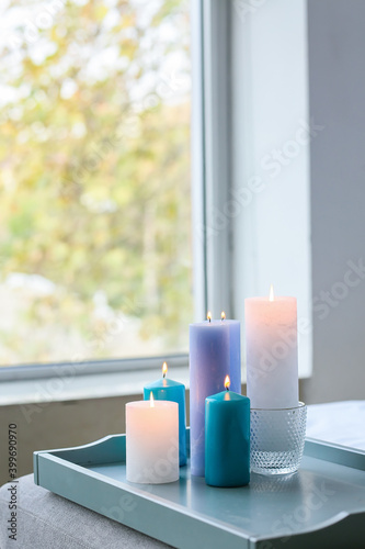 Canvas Print Tray with burning candles in interior of bedroom