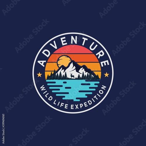 Canvas-taulu Outdoor adventure, wildlife expedition, wilderness logo design template on dark