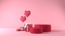 Pink Podium In Valentines Background With Decorations