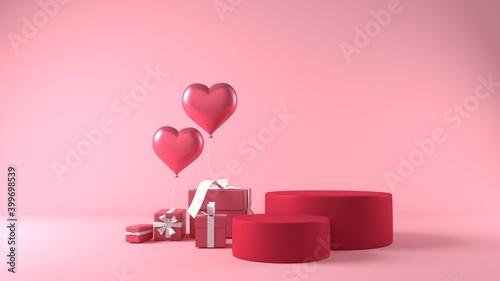 Obraz pink podium in valentines background with decorations - fototapety do salonu
