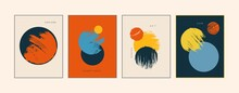 Set Of Modern, Minimal, Colorful Posters, Cards, Brochures, Covers. Simple Geometric Shapes With Grunge Texture. Primitive Style. Space, Planet, Sunnn Concept.