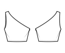 One-shoulder Crop Top Tank Technical Fashion Illustration With Fitted Slim Body, Waist Length. Flat Outwear Shirt Apparel Template Front, Back, White Color. Women, Men Unisex CAD Mockup
