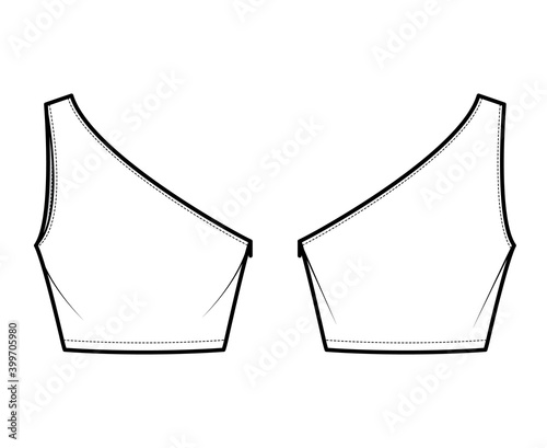 Fotografering One-shoulder crop top tank technical fashion illustration with fitted slim body, waist length