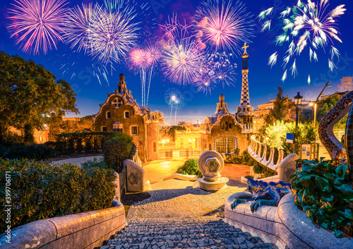 Fotografering Fireworks show in Barcelona seen from Park Guell