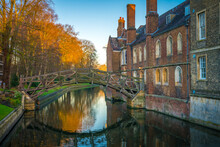 Newton's Mathematical Bridge In Cambridge. England