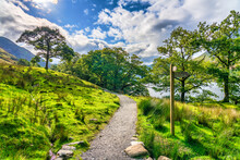 Walking Path Around Buttermere Village In Lake District. Cumbria. England