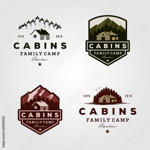 Leinwand Poster vintage cabins logo collections vector illustration