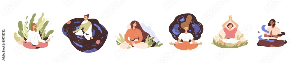 Fototapeta Set of tranquil women with closed eyes and croosed legs meditating in yoga lotus posture. Meditation practice. Concept of zen and harmony. Colored flat vector illustration isolated on white background