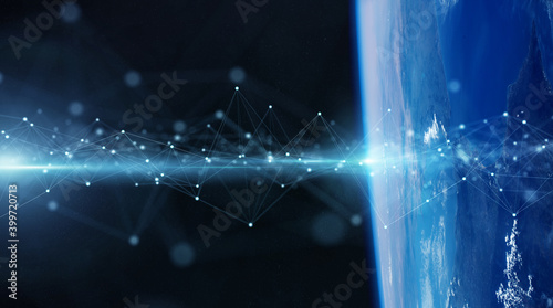 Global datas exchanges and connections system over the globe 3D rendering elements of this image furnished by NASA
