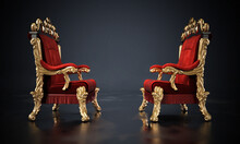 Opposing Two Thrones Standing On Black Surface. 3D Illustration
