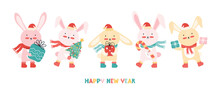New Year Banner With A Group Happy Baby Rabbits In Santa Hat With A Christmas Tree, Gifts, And Candy Cane. Christmas Funny Cartoon Animals. Bunnies Having Fun On Winter Holiday. Vector Illustration.