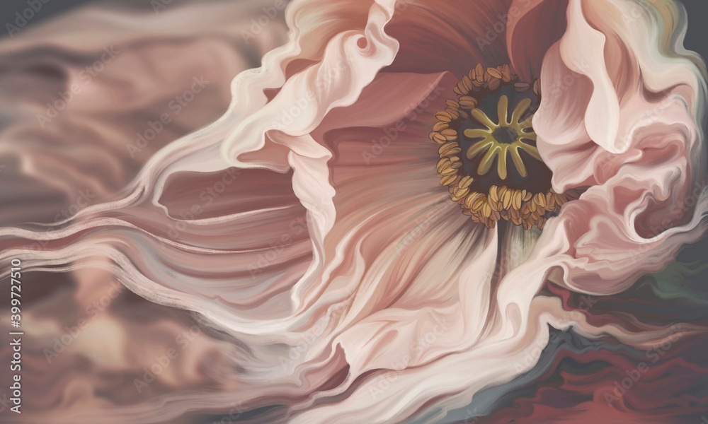 Beautiful macro flower illustration. Floral background for wallpaper, photo wallpaper, mural, card, postcard, painting.