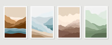 Mountain Wall Art Vector Set. Earth Tones Landscapes Backgrounds Set With Moon And Sun.  Abstract Arts Design For Wall Framed Prints, Canvas Prints, Poster, Home Decor, Cover, Wallpaper.