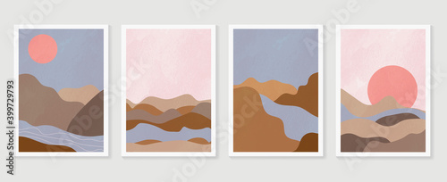 Obraz Mountain wall art vector set. Earth tones landscapes backgrounds set with moon and sun.  Abstract Arts design for wall framed prints, canvas prints, poster, home decor, cover, wallpaper.  - fototapety do salonu