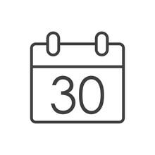 Logotipo Con Hoja De Calendario Con Número 30 Con Lineas En Color Gris