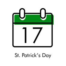 Día De San Patricio. Logotipo Con Hoja De Calendario Con Número 17 Con Lineas En Negro Y Verde