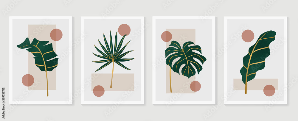Fototapeta Botanical and gold abstract wall arts vector collection.  Golden and luxury pattern design with leaves line arts, Hand draw Organic shape design for wall framed prints, canvas prints, poster, home dec