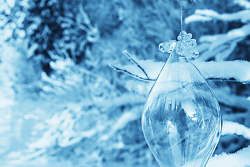 glass christmas tree toy nature background, christmas card finland lapland decor landscape