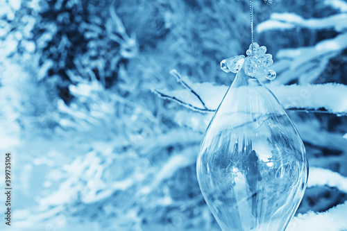 Fototapeta glass christmas tree toy nature background, christmas card finland lapland decor landscape obraz