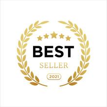 Best Seller Badge Logo Icon Design Laurel. Best Seller Vector Isolated White Background. EPS 10.