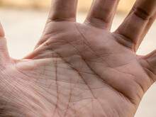 Handwriting Tells Of Life, Macro Close-up Of A Man's Left Hand Palm.