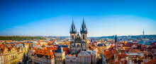 Aerial View Over Church Of Our Lady Before Tyn At Old Town Square In Prague, Czech Republic