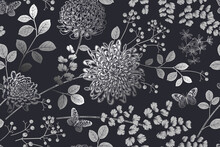 Seamless Pattern. Flowers, Berries And Leaves. Black And Silver. Vector. Vintage