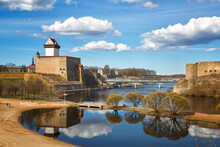View Of Narva Castle With Tall Herman's Tower In Day. Estonia