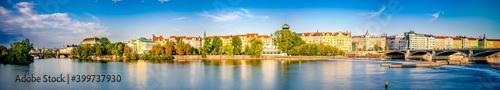 Fotografering Riverside panorama of Prague in Czech Republic