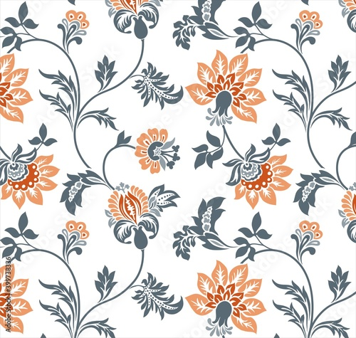 Fototapeta Colorful wedding card design, paisley floral pattern , India obraz