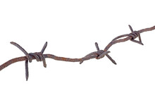 Old Rusty Metal Barbed Wire Isolated On A White Background. Barbed Wire Macro.