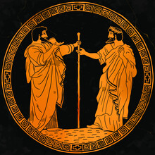 Two Elders In Ancient Greek Clothes Drink Wine From The Horn And Talk. Drawing In A Frame With National Ornament Meander On Antique Dishes.