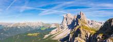 Panorama On Seceda Peaks. Trentino Alto Adige, Dolomites Alps, South Tyrol, Italy. Odle Mountain Range, Val Gardena. Majestic Furchetta Peak. Odles Group Seen From Seceda, Santa Cristina Val Gardena
