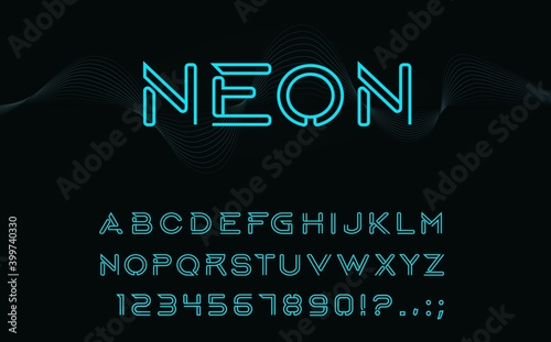 Foto Neon type font, glowing vector alphabet letters, digits and punctuation marks isolated on black background