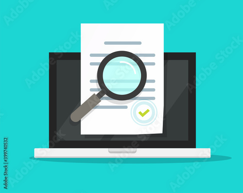 Obraz Online compliance document inspection, statement terms audit review on laptop computer vector flat, digital electronic agreement contract analysis, page verification, evaluation or assessment report - fototapety do salonu