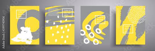 Fototapeta Set of vector covers of four minimalistic hand-drawn illustrations of abstract shapes in gray and yellow