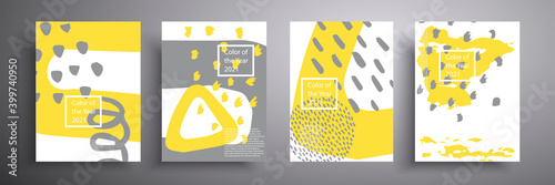 Obraz na plátně Abstract banner, a set of four creative minimalistic illustrations in gray and yellow